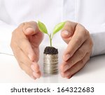 Businessman Holding Plant...