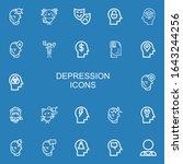 editable 22 depression icons... | Shutterstock .eps vector #1643244256