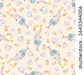 watercolor cute nursery naive... | Shutterstock . vector #1643344006