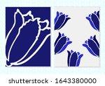 outline tulip bloom postcard... | Shutterstock .eps vector #1643380000