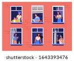 apartment building with people... | Shutterstock .eps vector #1643393476