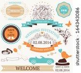 vector set of  wedding design... | Shutterstock .eps vector #164343086