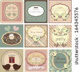 Beautiful label set with love-birds for Valentines day