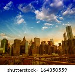 sunset in new york. stunning... | Shutterstock . vector #164350559