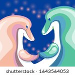 a pair of dolphins touch fins.... | Shutterstock .eps vector #1643564053