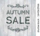 autumn sale vector retro poster ... | Shutterstock .eps vector #164363966