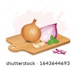 red and yellow onion vector... | Shutterstock .eps vector #1643644693