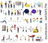set of 30 flat cartoon ... | Shutterstock .eps vector #1643691796
