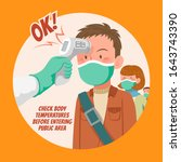 check body temperature before... | Shutterstock .eps vector #1643743390
