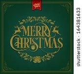 merry christmas vintage...   Shutterstock .eps vector #164381633