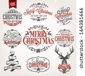 christmas retro icons  elements ... | Shutterstock .eps vector #164381666