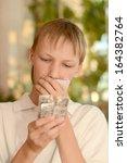 teenage sick boy standing with... | Shutterstock . vector #164382764