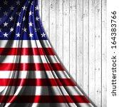 America Flag  Fabric Wood...
