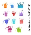 set of hand drawn watercolor... | Shutterstock .eps vector #164383949