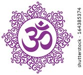 vector indian spiritual sign ohm | Shutterstock .eps vector #164385374