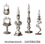 hand drawn candles. retro... | Shutterstock .eps vector #164386286