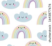 hand drawn cute rainbow...   Shutterstock .eps vector #1643877676