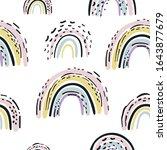hand drawn cute rainbow... | Shutterstock .eps vector #1643877679