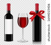 realistic bottle and glass of... | Shutterstock .eps vector #1644015406