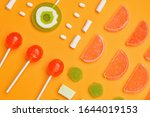 Assortment Of Tasty Candies On...
