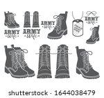 Combat Boot Symbol Icon Vector...
