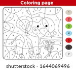 number coloring page. cute... | Shutterstock .eps vector #1644069496