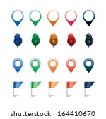 vector set of pins  flags  and... | Shutterstock .eps vector #164410670
