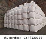Chemical fertilizer Urea Stockpile jumbo-bag in a warehouse waiting for shipment.