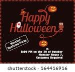 happy halloween poster template ... | Shutterstock .eps vector #164416916