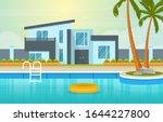 modern house villa exterior...   Shutterstock .eps vector #1644227800