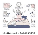 a young girl sitting on the bed ... | Shutterstock .eps vector #1644255850