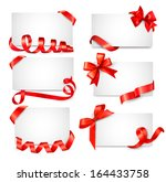 set of card notes with red gift ... | Shutterstock . vector #164433758