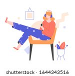 a young girl in headphones with ...   Shutterstock .eps vector #1644343516