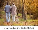 Stock photo senior couple walking their beagle dog in autumn countryside 164438249