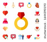 marriage icon set. 17 flat... | Shutterstock .eps vector #1644390193
