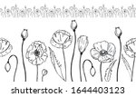 seamless border made of poppies.... | Shutterstock . vector #1644403123
