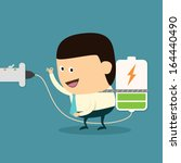 cartoon businessman charging... | Shutterstock .eps vector #164440490