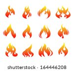 fire  flames  set  icons | Shutterstock .eps vector #164446208