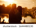 Silhouette Of Loving Couple...