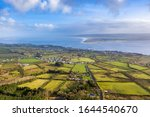 Aerial view of Greencastle, Lough Foyle and Magilligan Point in Northern Ireland - County Donegal, Ireland.