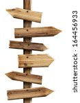 Wooden Sign Arrows Isolated On...