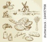 bakery  rural landscape  bread  ... | Shutterstock .eps vector #164457908