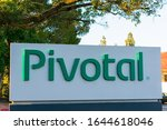 Small photo of Pivotal sign at Silicon Valley office of Pivotal Software company that provides cloud platform hosting and consulting services- Palo Alto, California, USA - 2020