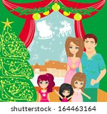 family christmas at home | Shutterstock .eps vector #164463164