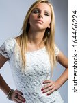 Fashion portrait of beautiful blonde woman - stock photo