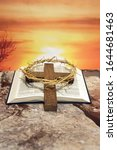 Open Bible With Thorn Crown And ...