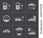 vector black electric car icons ... | Shutterstock .eps vector #164470220