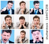 collage of businessman posing... | Shutterstock . vector #164471258