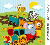 Animals By Train   Vector...