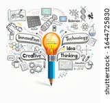 light bulb pencil doodles idea...   Shutterstock .eps vector #1644725830